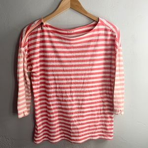Loft Pink & White Striped Long Sleeve Shirt